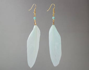 Golden feather earrings mint elyfly creations
