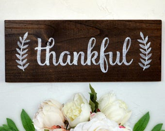 Thankful Solid Wood Sign