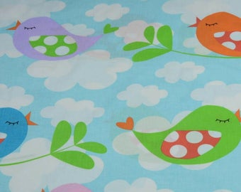 "50 cm fabric ""multicolored birds"" 100% cotton blue and white sold by 50 cm x 150 cm"