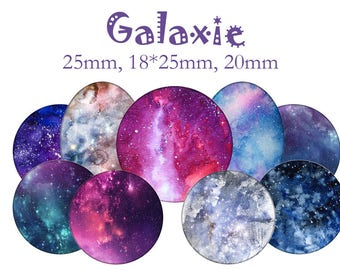 "Cabochons collage sheet / digital ""Galaxy, cosmos, Star, space, galaxy, stars, universe"" round"
