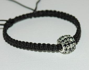 Black macramé and Pearl rhinestone bracelet