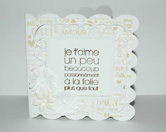 """Lace card Valentine's day """"I love, a little, madness, more than everything"""" - beige and white paper"""