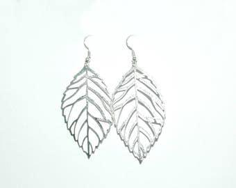 Earrings silver fall leaves