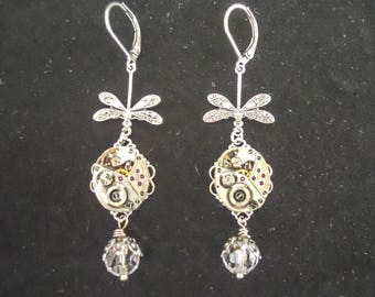 Steampunk Dragonfly Vintage Watch Movement Crystal Earrings