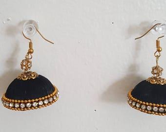 Black silk thread earring
