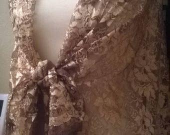 Golden brown lace shawl