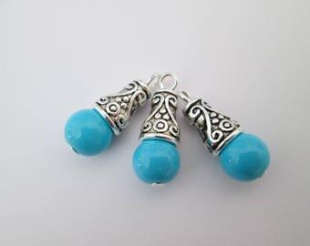 3 breloque perle bleu turquoise et calotte métal argenté 21 x 8 mm