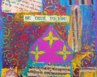 Print, 'True heart you' Arabesque architecture Pink and Yellow Happy Uplifting words art Texture Colourful art Bohemian Inspiring Artwork