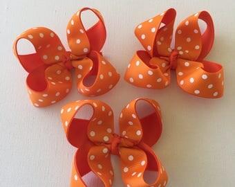 orange polka dot | hair bow | polka dot bow | orange hair bow | girls hair bow | hair clip | boutique hair bow | set of 3 | toddler hair bow