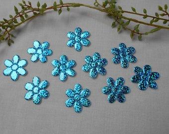 10 turquoise lazer flower appliqués