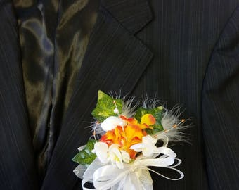 Groom's boutonniere / witness or maid of honor orange and white flowers