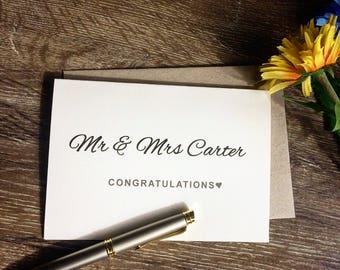 Wedding Congratulations card, Wedding congrats card, Wedding gift card, bride and groom card, personalised wedding card, Mr and Mrs wedding