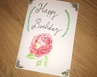 Rose watercolour Birthday card