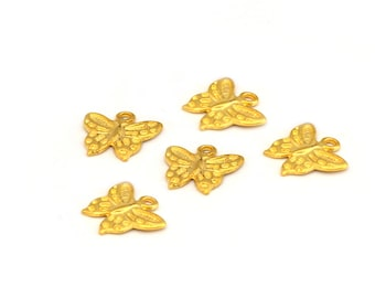 5 Golden Butterfly charms