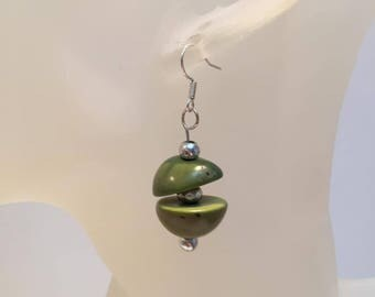 Original green pearl earrings