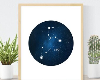 Leo Constellation | Astrology Wall Art | The Lion Star Map | Instant Birthday Gift | Gift for Leo | Leo Star Sign  | Digital Art Print