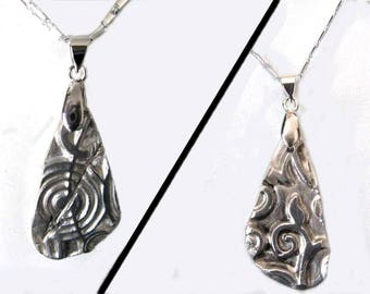 """""""Two sided target heart"""" pendant """"-Silver 999"""""""