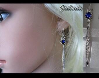 """""""The Sword"""" sapphire blue & Silver earrings"""