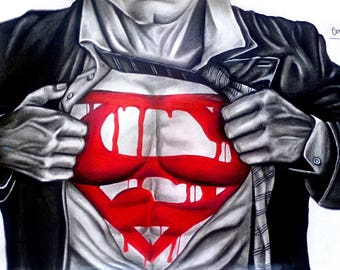 Torso design super man black white and Red