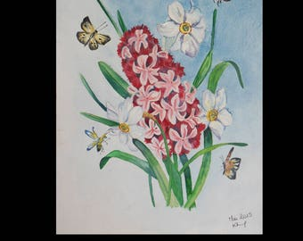 Watercolor and ornament of hyacinth and narcissus