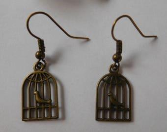 """""""Bird in cage"""" earrings"""