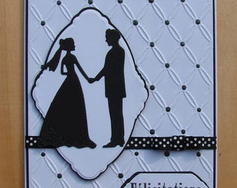 "card ""Feliictations"" black and white silhouette wedding couple Ribbon"