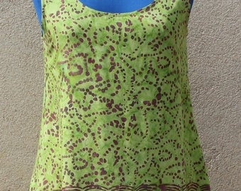 Short green dress patterned viscose