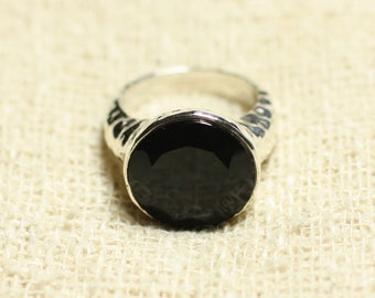 N120 - 925 sterling silver and Black Onyx - stone ring faceted round 15mm