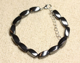 Bracelet 925 sterling silver and Hematite - olive twisted 12mm