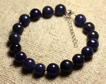 Bracelet 925 sterling silver and gemstone - Aventurine Blue 10 mm