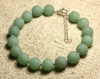 Bracelet 925 sterling silver and gemstone - Aventurine green matte 10 mm
