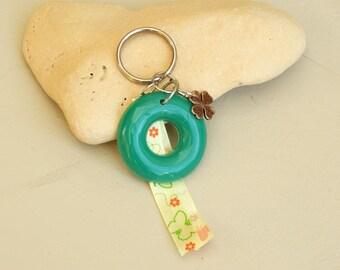 Bag charm / Keychain, green, yellow