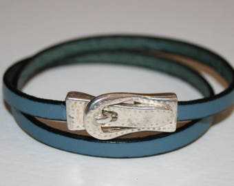 Bracelet double turn and clasp 5mm leather belt loop