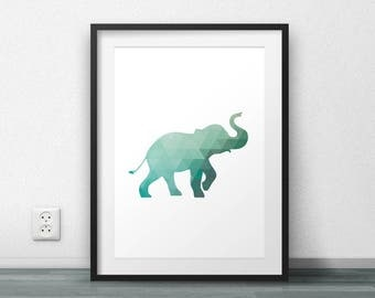 Elephant Print, Triangle Pattern, Geometric Art, Wall Poster, Wall Decor, Office Decor, Scandinavian Poster, Large size, Minimal, Modern