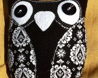 Large felt and fabric plush owl