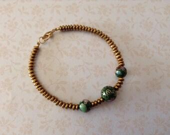 Bracelet cloisonne beads hematite rondelles gold