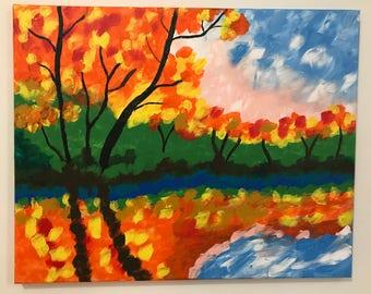 Fall acrylic painting
