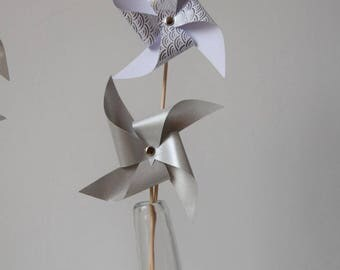 4 silver and white pinwheels - room decoration, christening, baby shower, birthday, wedding