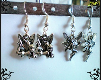 Small fairy earrings silver tibet - anti-allergic posts and nickel free