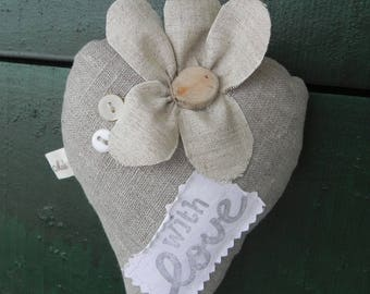 """Linen heart """"with LOVE"""" scented with Lavender"""