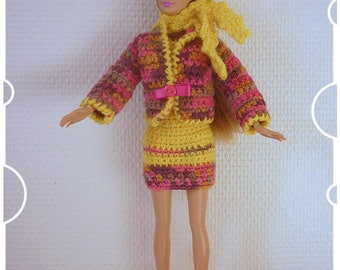 Barbie: suit and accessories, scarf, beret and boots