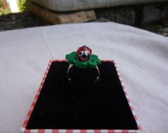 Ring adjustable Ladybug on a four leaf clover
