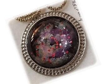 Purple/pink Cosmos cabochon necklace