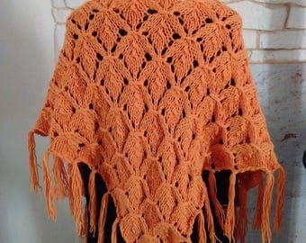 Bohemian scarf / shawl crocheted by hand in wool