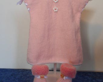 Dress pink + booties for premature girl