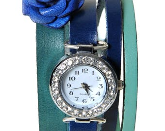 Watch jewelry Paris blue and turquoise