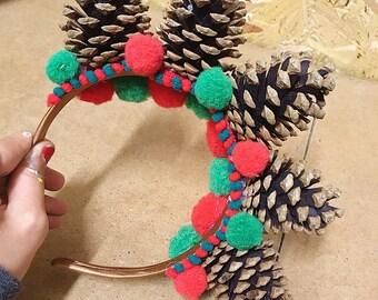 Festive pine cone crown