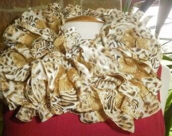"Knitted in ecru background, beige and black motifs printed Ribbon ""scarf"" ruffled scarf"