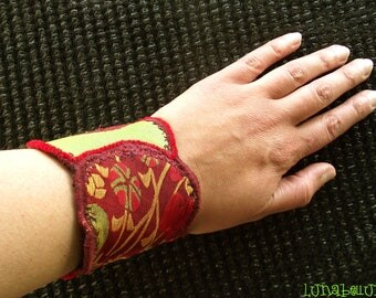 Fabric Cuff Bracelet, lime green and red fabric jewelry