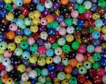 Multicolor bag of 70 acrylic beads with rhinestone encrusted 8mm
